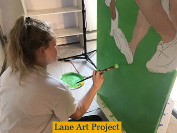 Student painting community art project