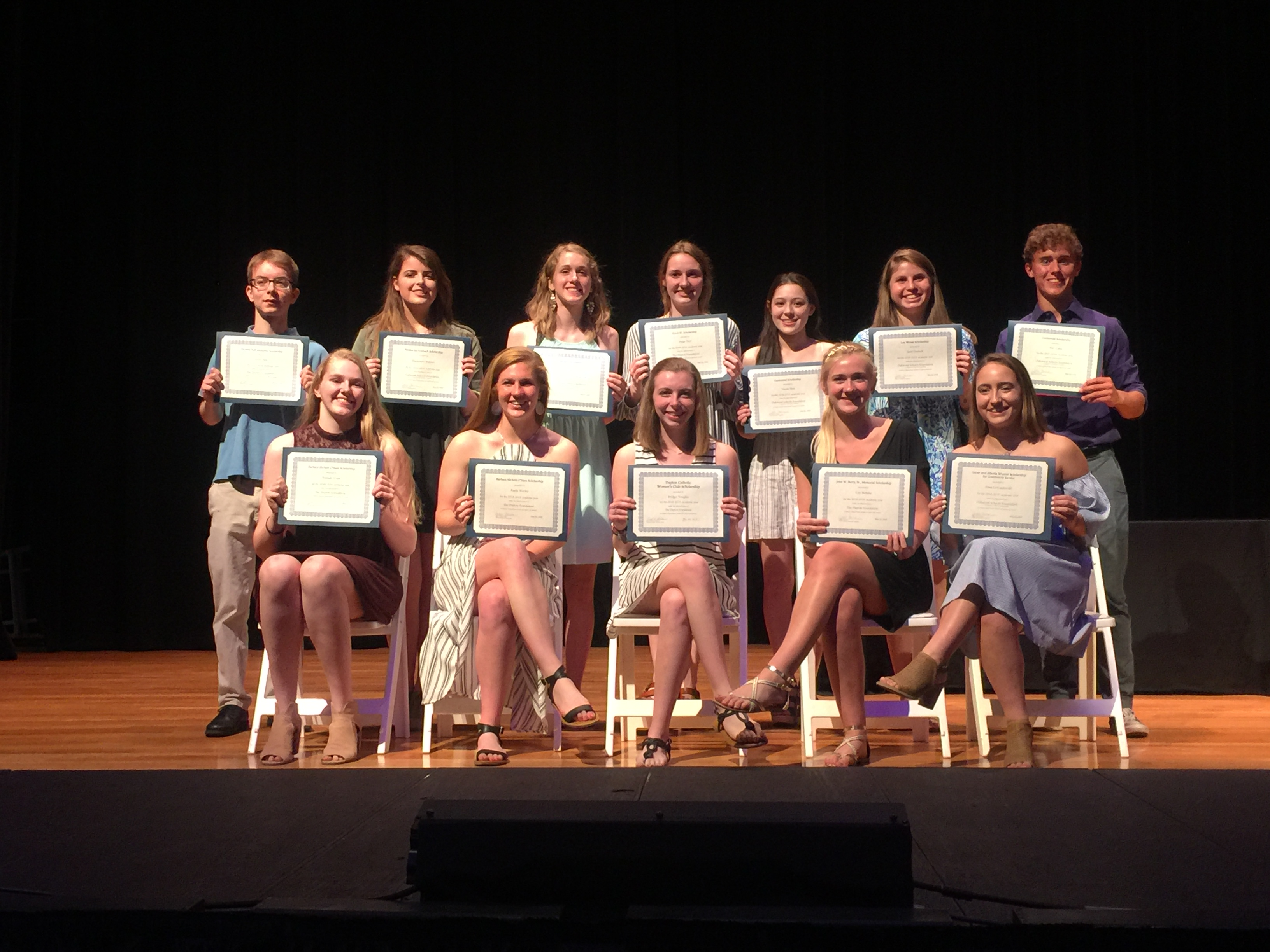 Some of the winners of the 2018 OSF scholarships taken at Senior Recognition