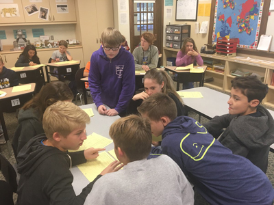 Junior High Students Work in Groups