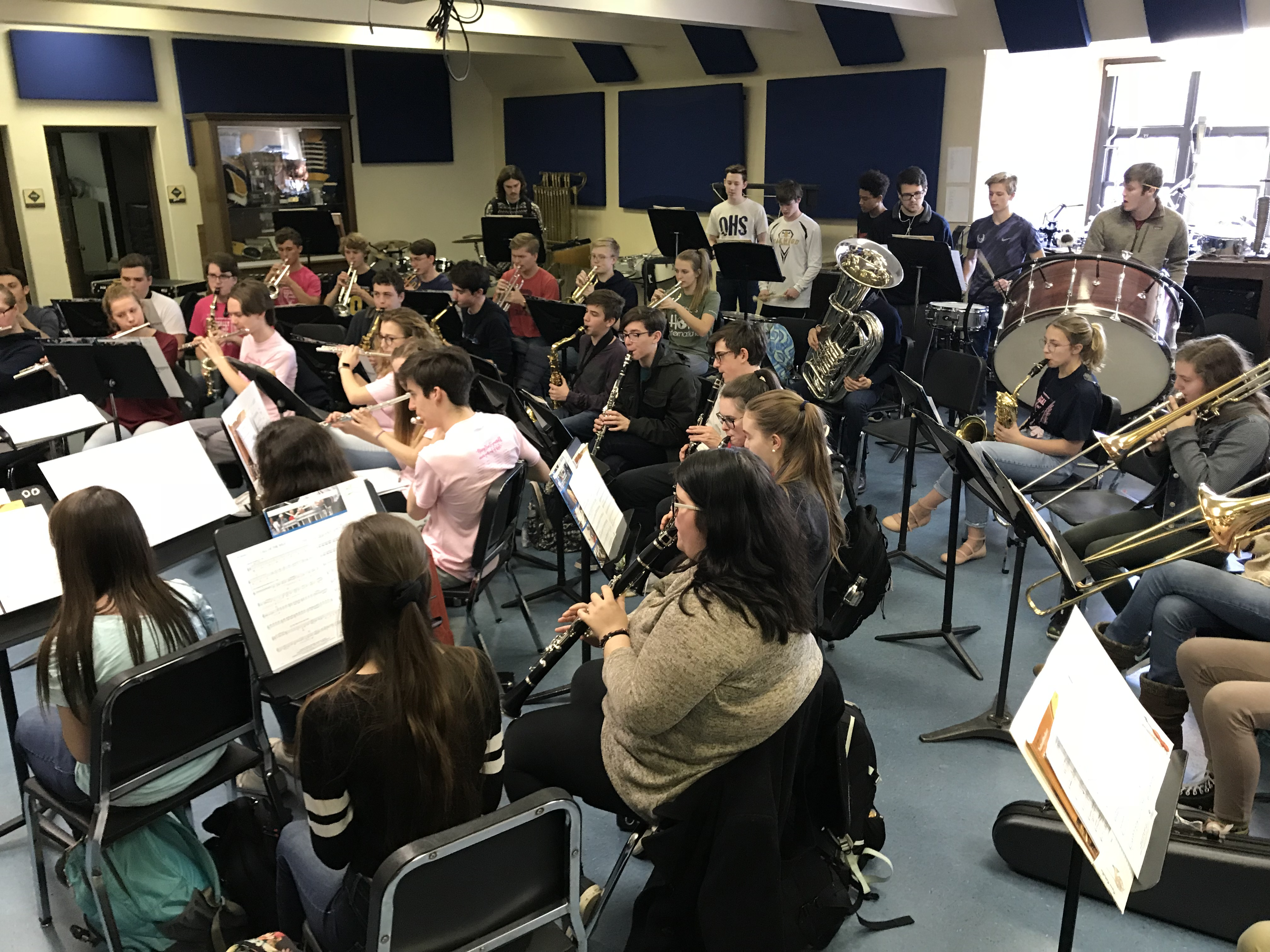 Students practicing in the band room