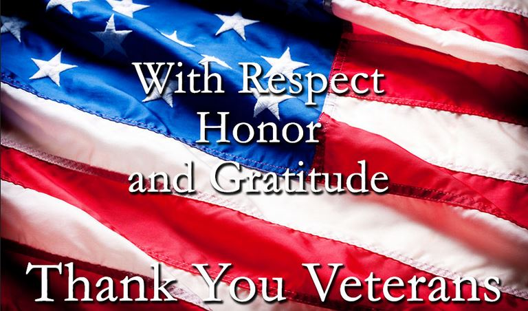 Thank you veterans with American flag image